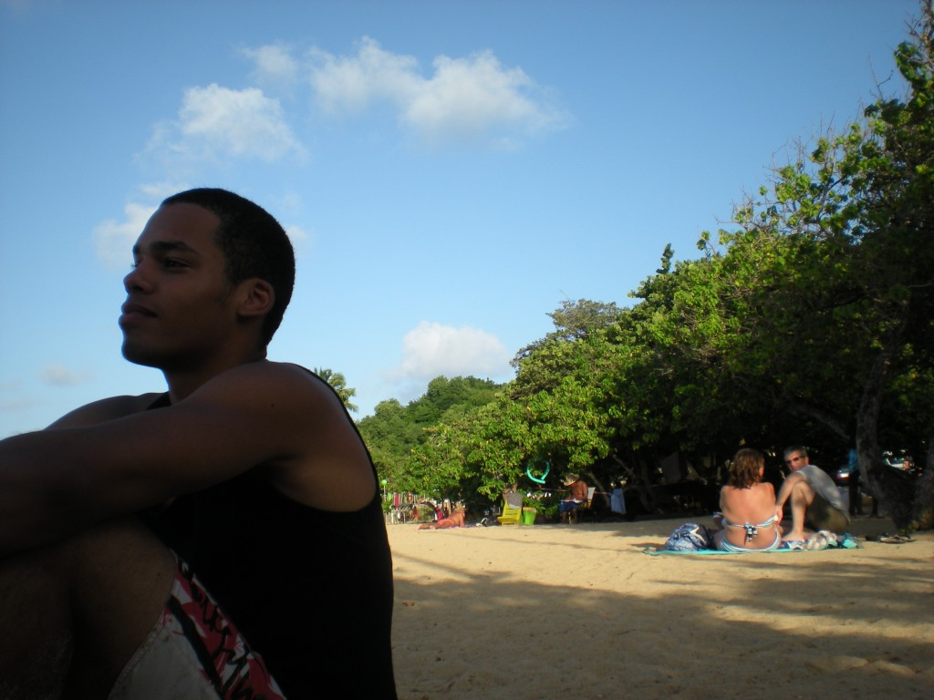Guy on the beach in Tartane, Martinique