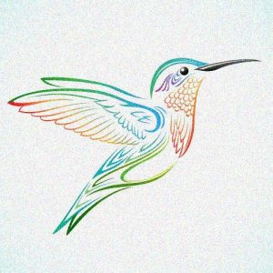 Lots of colour in this hummingbird - a homage to my tattoo and time spent in the Caribbean
