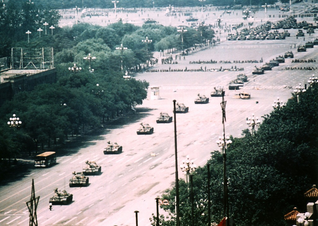 "Long range photo of ""Tank Man"" Photo by Stuart Franklin"