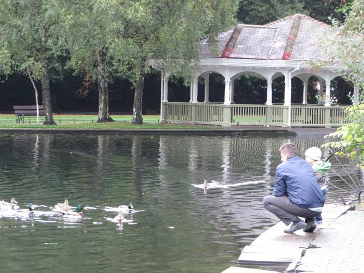 Feeding ducks in St Stephen's Green