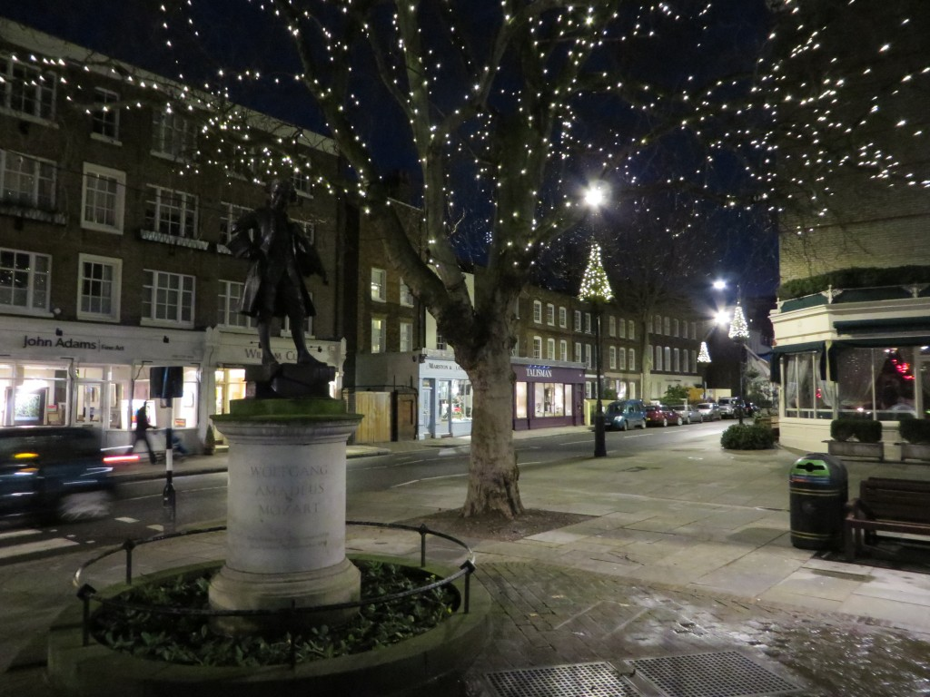 Mozart statue, Pimlico and Ebury Street, Christmas Lights in Belgravia, bicycle tour, Christmas lights bicycle tour in London