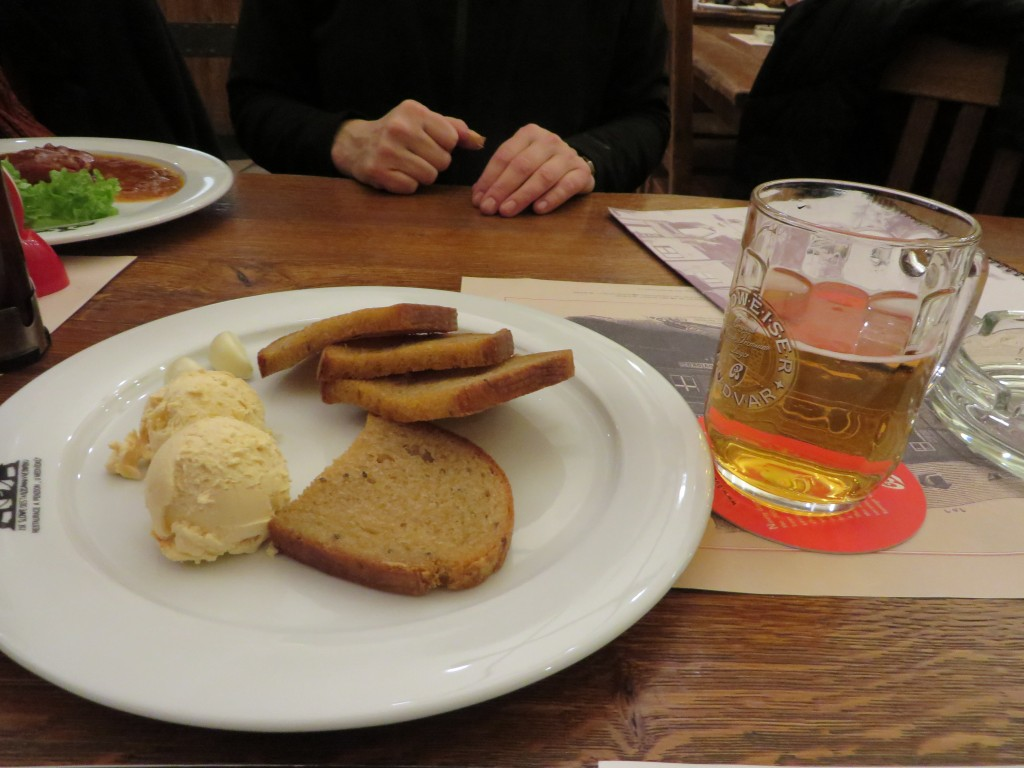 Topinky, toast in the Czech Republic with beer cheese, Pilsner Urquell