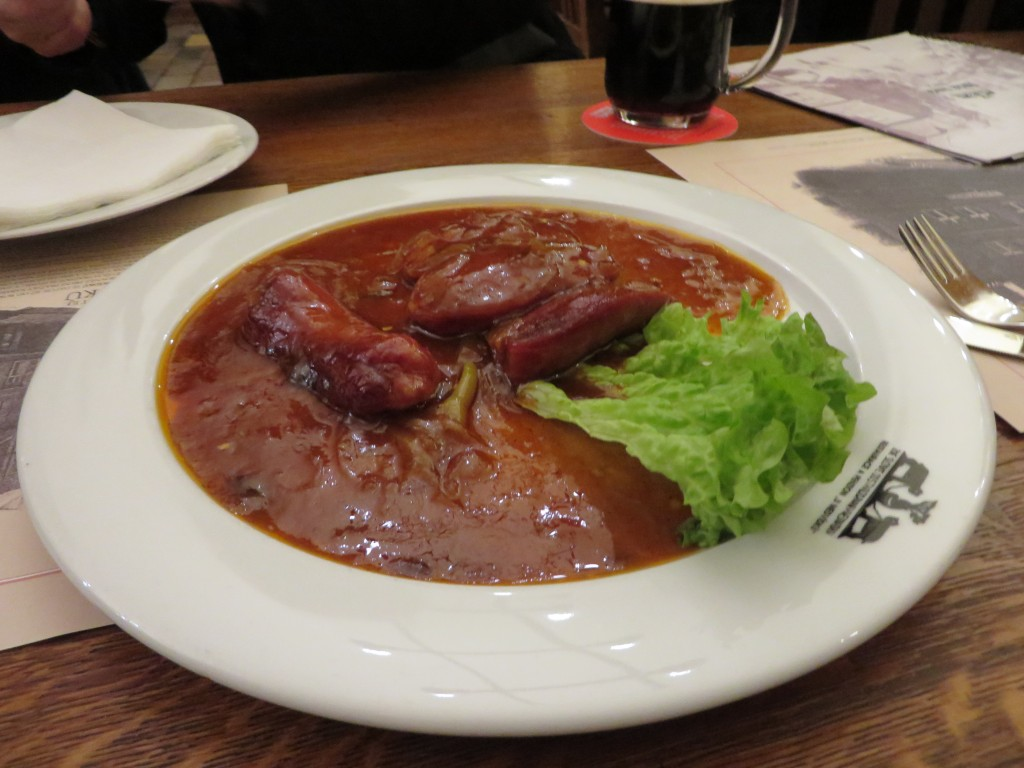 Sausages in a Oldgott Beer sauce in the Czech Republic