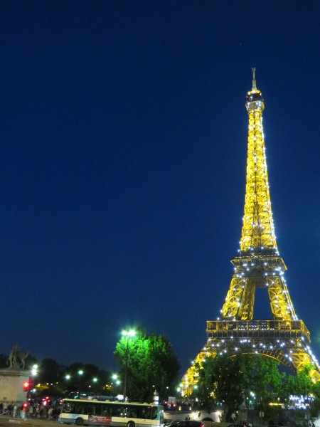 Eiffel Tower with lights, Paris, night time in Paris